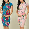 Ladies Maternity Summer Short Sleeve Floral Print Loose Sundress Pregnancy Dress