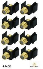8x F-Type Female to Female Coax Coaxial Cable Keystone Jack Snap-in Insert Black
