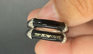 Stunning Emporio Armani Black Logo Steel Ring Crystal ring size 6.25 Logo