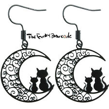 TFB - MIDNIGHT CATS DANGLE EARRINGS Drop Quirky Black Moon Kitten Kitsch Gift UK
