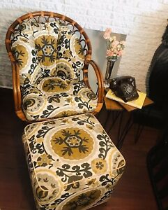 Vintage Mid Century Modern Rattan bamboo Chair with Matching Ottoman