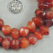 15 inch 38cm strand old hand faceted african agate stone beads mali #4086