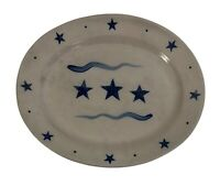 Rowe Pottery Works Salt Glazed Platter Cobalt Blue Stars Patriotic Country