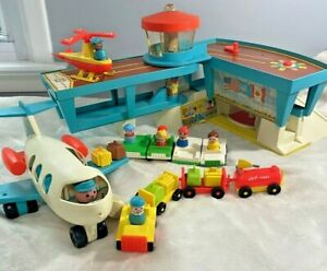 Vintage Fisher Price Little People Play Family Airport 996 Helicopter Fuel Cars