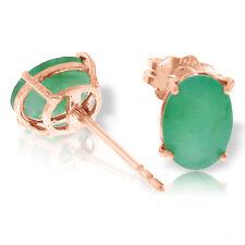 1.8 Carat 14K Solid Rose Gold Stud Earrings Natural Emerald