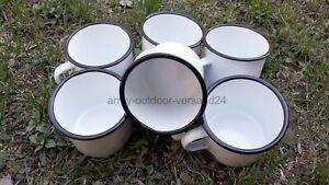 6 Email Tassen Emaille Kaffeetasse Westernbecher weiß / schwarz Camping Becher