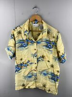 Dressbarn Woman Womens Vintage Short Sleeve Hawaiian Shirt Size 2X Yellow Blue
