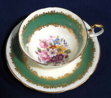 Aynsley China Green w/ Gold Decor Floral Bouquet Spray Tea Cup and + Saucer Set