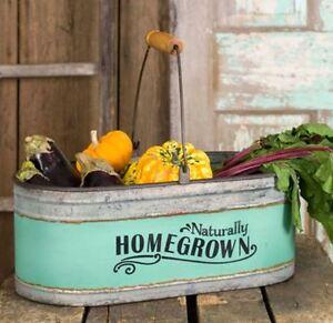 Galvanized Metal Reproduction Homegrown Bucket Storage Bin Farm Kitchen Decor