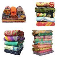 Handmade Vintage Old Sari Kantha Quilt Wholesale Lot Blanket Throw Gudar Indian