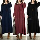 Zanzea Women Long Sleeve Vintage Kaftan Casual Party Boho Loose Long Maxi Dress
