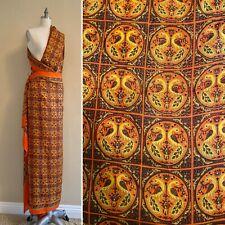Vintage Tissue Silk Peacock Print Indian Sari Saree India 5+ yards