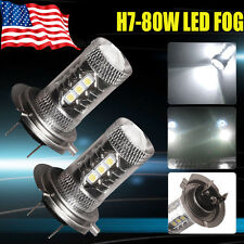 2x H7 Led bulb Xenon White High Power 80W Projector Fog  Driving Light DRL Lamp