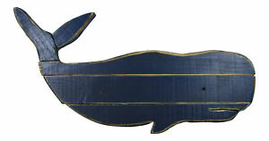 Great Blue Whale Slatted Wood Wall Plaque 31.5 Inches