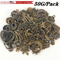 50G/Pack Vintage Antique Bronze Steampunk Jewelry Making Mixed Charms DIY Crafts