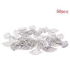 50Pcs Hollow Leaves Filigree Wraps Connectors Metal Crafts Vintage Charm Jewelry