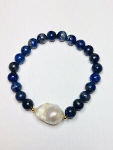 Handmade Lapis Lazuli and Baroque Pearl Stretch Bracelet