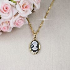 N1 18K Gold Filled Cameo Necklace & Pendant - Gift boxed