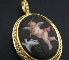 Elizabeth Locke 19k Antiqued Cherub and Dove Blackened Pendant PG1326