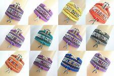 Infinity FIBROMYALGIA/EPILEPSY/LUPUS Cancer Ribbon Charms LEATHER Bracelet