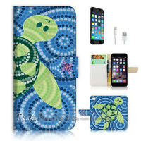 ( For iPhone 7 ) Wallet Case Cover P1804 Dot Art Turtle