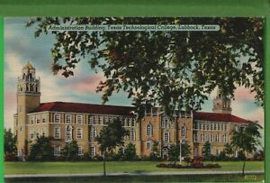 Vintage Texas TX Postcard Admin Building Texas Tech College Lubbock Posted 19434