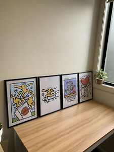 4x Keith Haring Framed Prints 'Pisa 89' (A3)