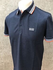 Hugo Boss Green Paddy Pro Polo Shirt Navy with Red, White, Grey Trim BNWT Small