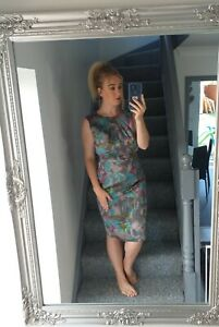 WOMENS VTG RETRO BRIGHT BOLD ZIP-UP ABSTRACT SHINY SMART 90'S DRESS VGC UK 12-14