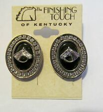 Crystals Horse Head Earrings New Black Onyx with