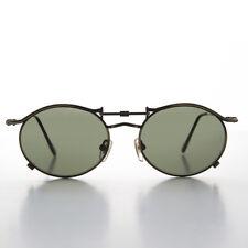 90s Oval Steampunk Sunglass Bronze Frame Green Lens - Lucian
