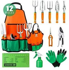 Garden Tools Set 12 Pcs Heavy Duty Cast-Aluminum Gardening Hand Kit Storage Bag