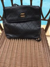 CHANEL QUILTED CC LOGOS BACKPACK BAG PURSE BLACK CAVIAR LEATHER VINTAGES
