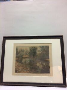Wallace Nutting Print The Swimming Pool Framed