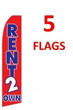 5 (five) RENT 2 OWN RENT TO OWN 11.5' SWOOPER #1 FEATHER FLAGS BANNERS
