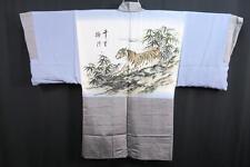 06v6944 Men Silk Wide Japanese kimono Haori Jacket Tiger