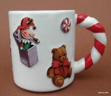 Coffee Mug Christmas Candy Cane Twist Handle Toys Plane Teddy Bear Raised Decor
