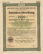 Anleihe des Deutfchen Reichs 1922 German 2,000 marks bond certificate