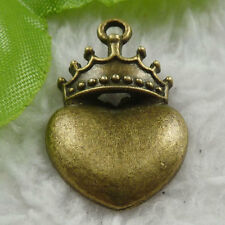 Free Ship 60 pcs bronze plated crown heart charms 28x18mm #1818