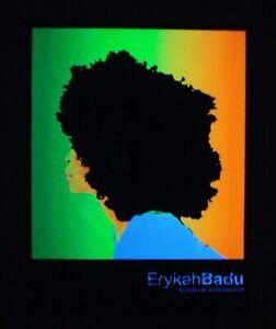 Very RARE Vintage velvet ERYKAH BADU blacklight poster  flocked felt NOS