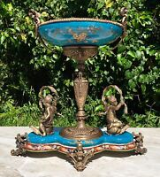 Wong Lee Blue Art Deco Porcelain & Bronze Cherub Statues Pedestal Bowl