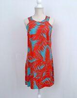 ESCAPADA❤️Woman's Sz.XS Coral-Blue Printed Summer Short Dress-Sleeveless NICE!