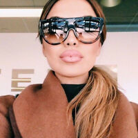 Stylish Flat Top Shadow Shield Oversized Women Ladies Men Designers Sunglasses