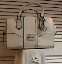 GUESS Logo embossed Box Satchel Handbag Purse White very nice