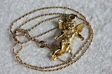 "Gold Tone Necklace Cherub Angel Cupid Pendant 24"" Chain Valentine's Day Hip Hop"