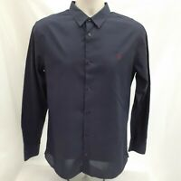 Mens All Saints Dark Blue Long Sleeve Smart Casual Shirt Size S Small