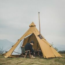 Teepee Pyramid Tent Retro Camping Tent Yurt Chimney Hole Army Hiking Sun Shelter