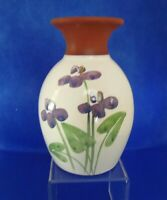 VTG Emerson Creek Pottery Hand Painted Purple Violets Red Ware 1992 Vase
