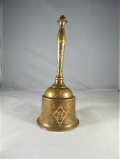 More details for  vintage brass bell beautifully engraved all over