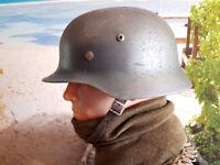 M35 STAHLHELM GERMAN HELMET M35 HELM  WAFFEN D. BEST QUALITY ! helm-fabrik